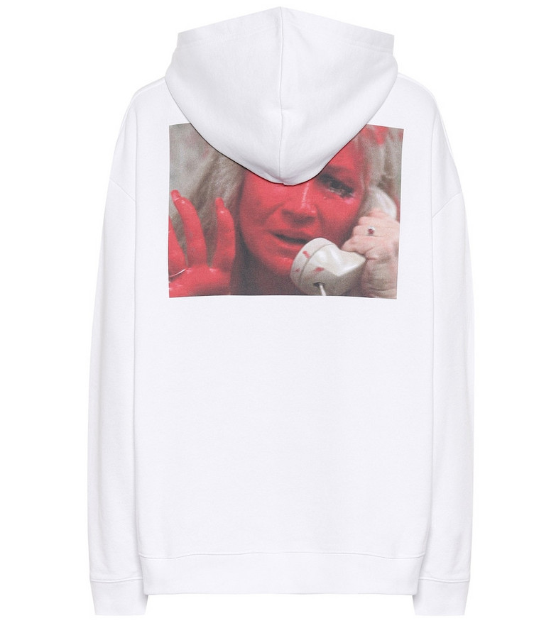 Raf Simons Printed cotton hoodie in white