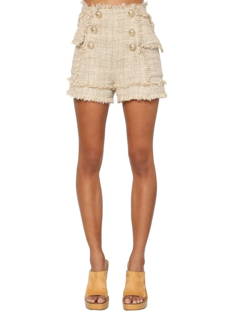BALMAIN High Waist Cotton Blend Tweed Shorts in beige