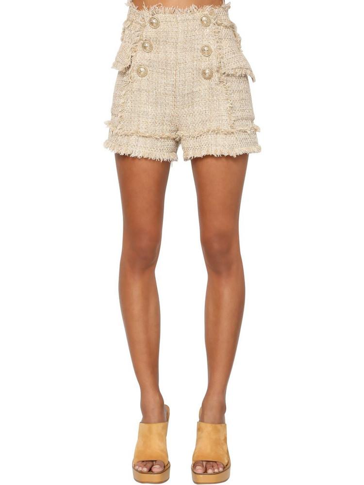 BALMAIN High Waist Cotton Blend Tweed Shorts in beige
