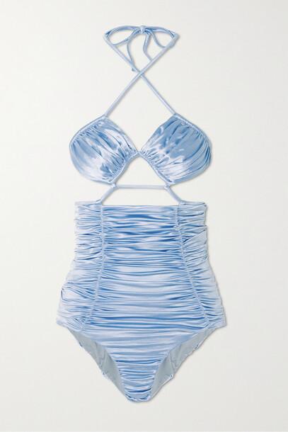 Isa Boulder - Sculpture Cutout Ruched Stretch-satin Halterneck Swimsuit - Blue