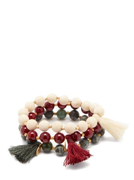 Elise Tsikis - Set Of Three Naica Jasper Beaded Tassel Bracelets - Womens - Multi