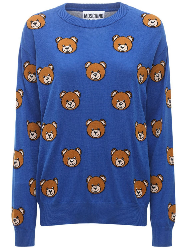 MOSCHINO Teddy Bear Intarsia Cotton Knit Sweater in blue