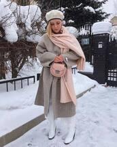 scarf,zara,white boots,wide-leg pants,plaid,oversized coat,beige coat,pink bag,beret