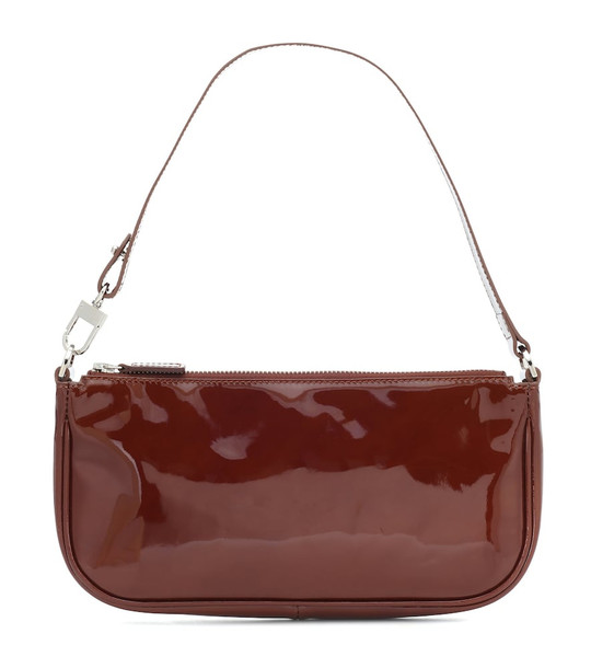 By Far Rachel patent leather shoulder bag in brown