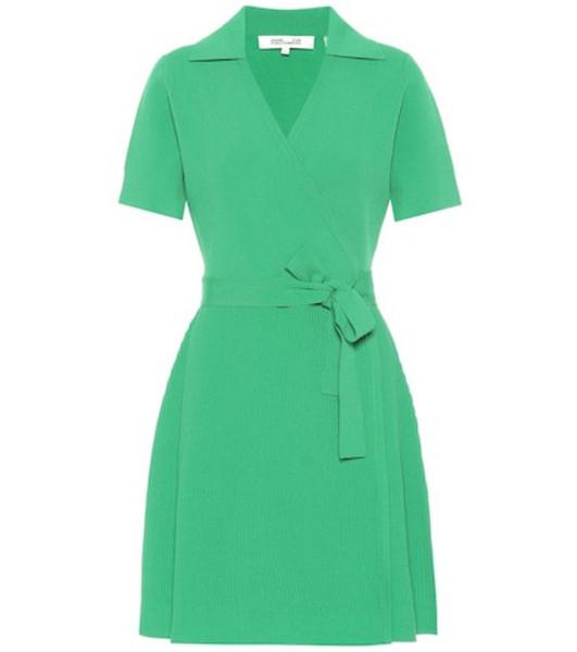 Diane von Furstenberg Zyla stretch knit mini wrap dress in green