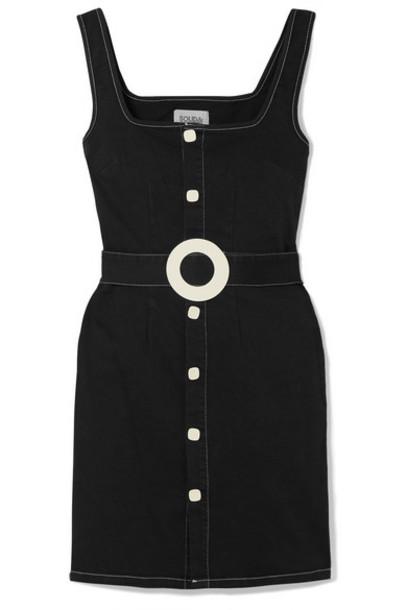 Solid & Striped - Belted Cotton-blend Twill Mini Dress - Dark denim