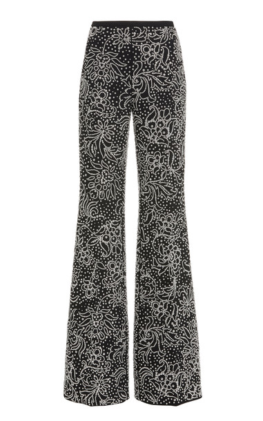 Michael Kors Collection Lace Flared Pants in black