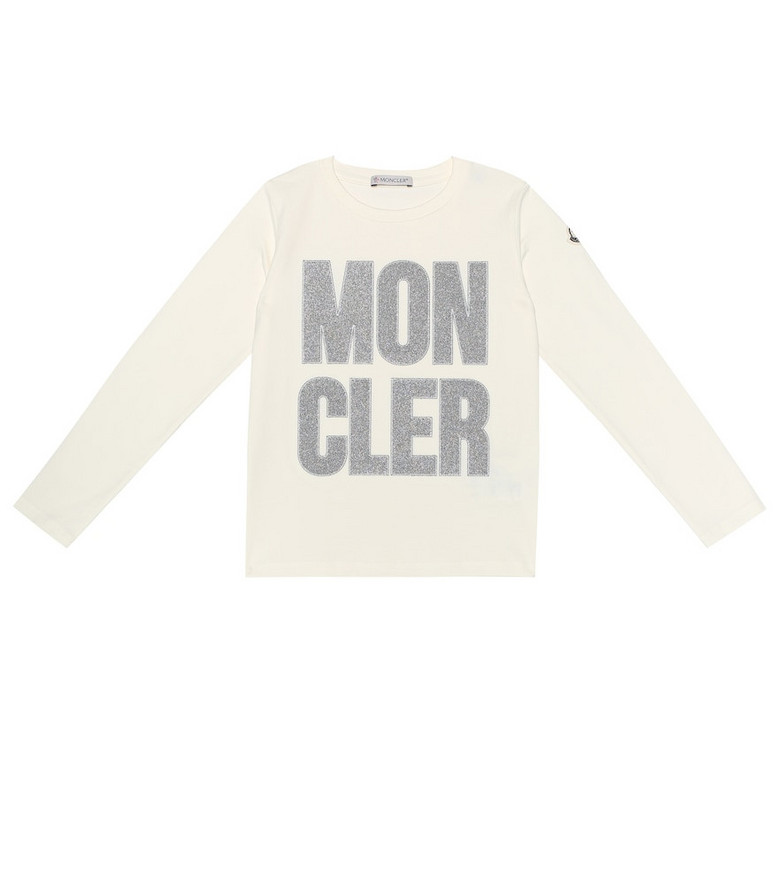Moncler Enfant Embroidered logo stretch cotton top in beige