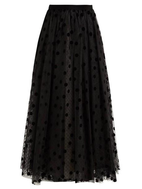 Erdem - Lindle Flocked Polka Dot Tulle Skirt - Womens - Black