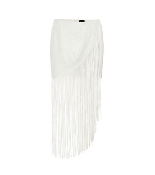 Magda Butrym London fringed leather skirt in white