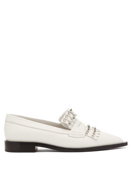 Alexander Mcqueen - Studded Point-toe Leather Loafers - Womens - Ivory