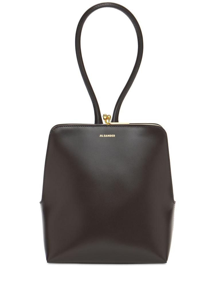 JIL SANDER Goji Frame Small Square Top Handle Bag in brown