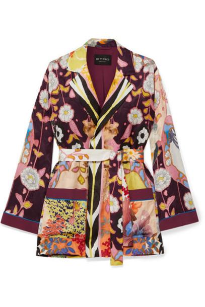 Etro - Floral-print Crepe De Chine Jacket - Purple