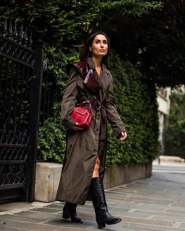 coat trench coat black boots red bag