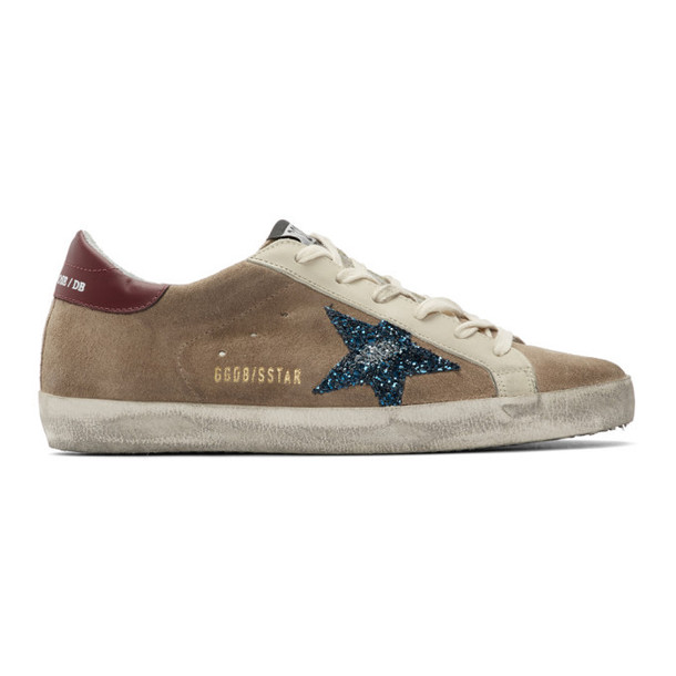 Golden Goose Beige and Blue Suede Superstar Sneakers