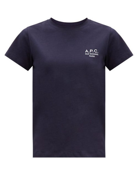 A.P.C. A.P.C. - Denise Logo-embroidered Cotton-jersey T-shirt - Womens - Navy