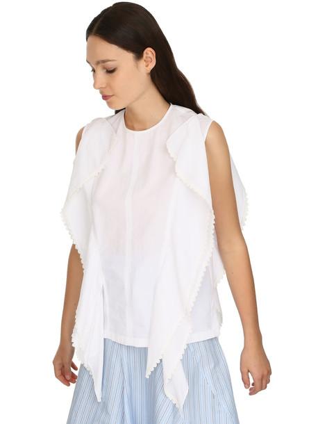 JW ANDERSON Cotton Gazar Top W/macramé in white