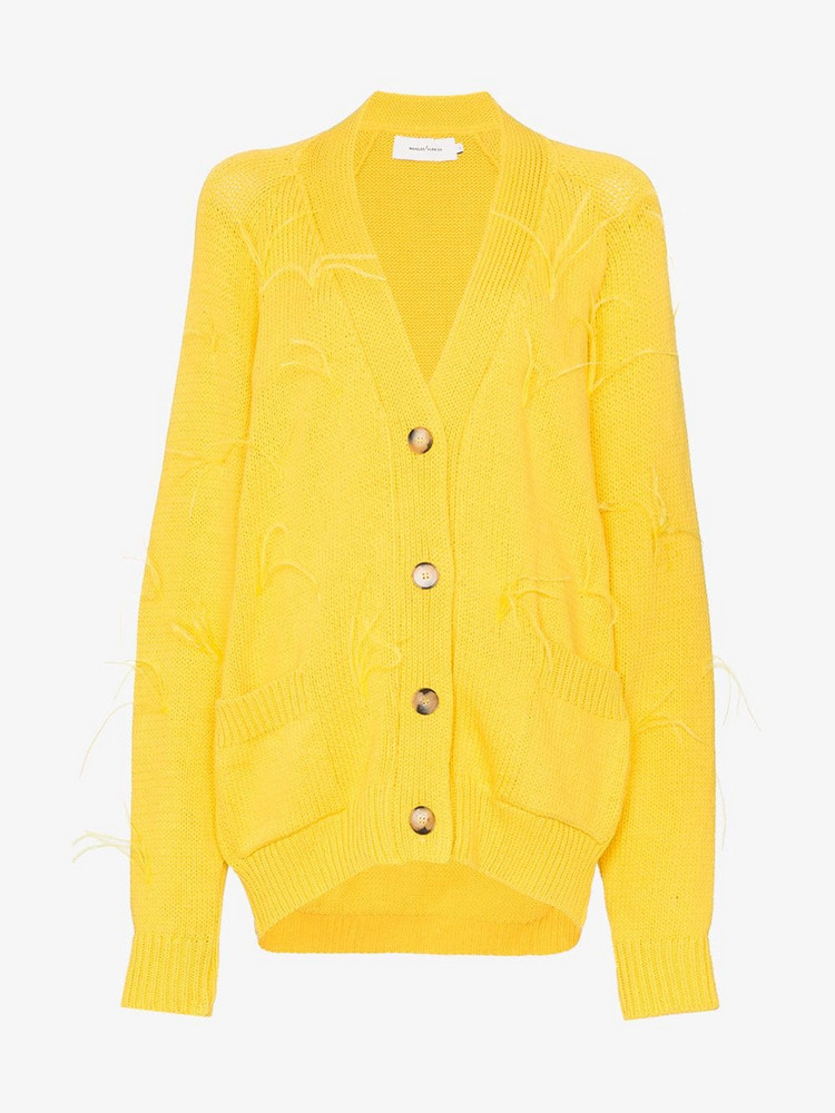 Marques'Almeida Feather embellished knitted cardigan in yellow