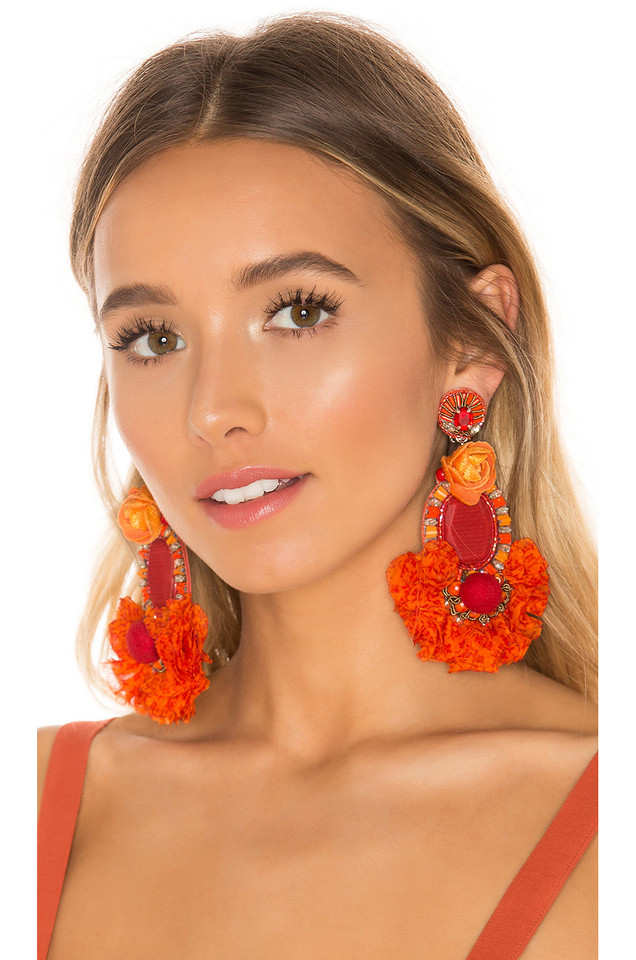 Ranjana Khan Rose Earring in orange
