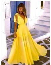 dress,yellow,prom dress,sexy v-neck dress