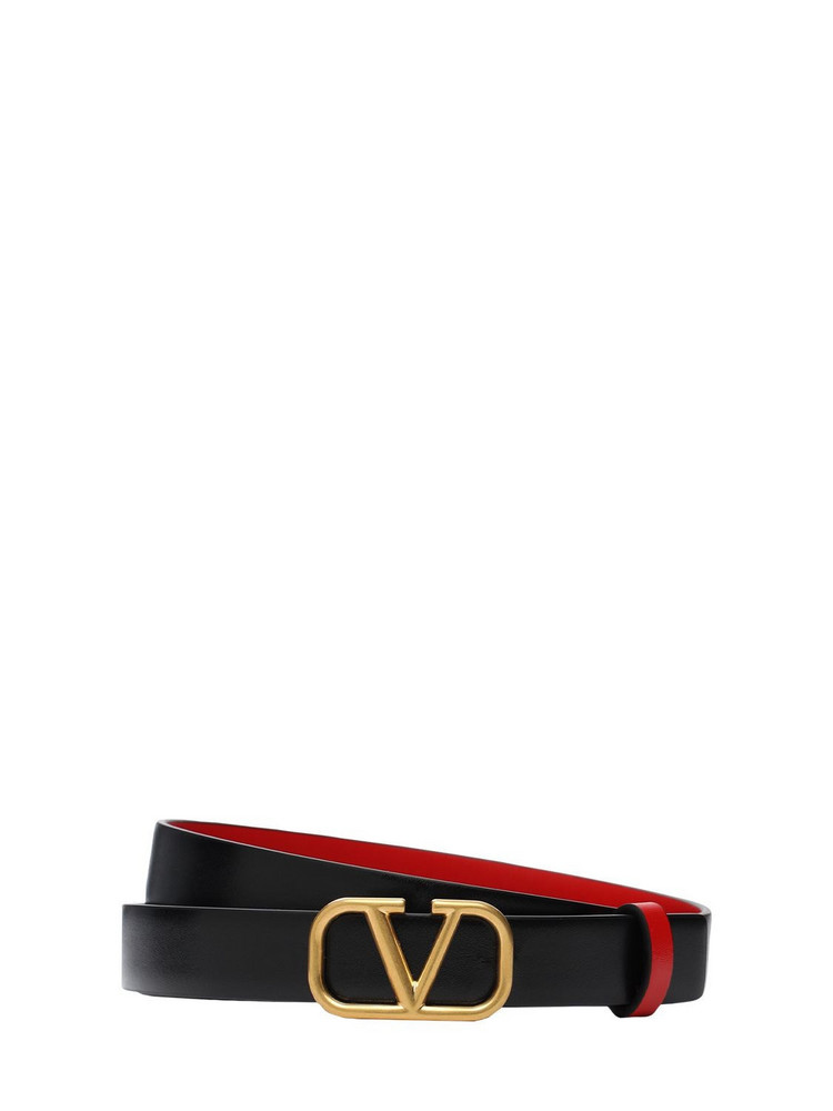 VALENTINO GARAVANI 20mm Reversible V Logo Leather Belt in black / red