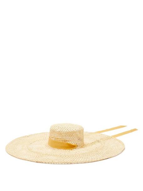 Sensi Studio - Calado Ribbon-trimmed Straw Boater Hat - Womens - Beige