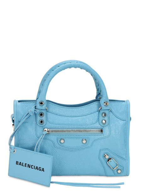 BALENCIAGA Mini City Leather Strap Logo Bag in blue