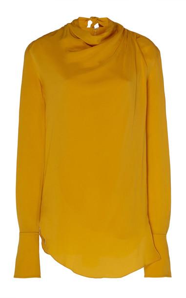 A.L.C. A.L.C. Sophie Draped Crepe De Chine Top in yellow