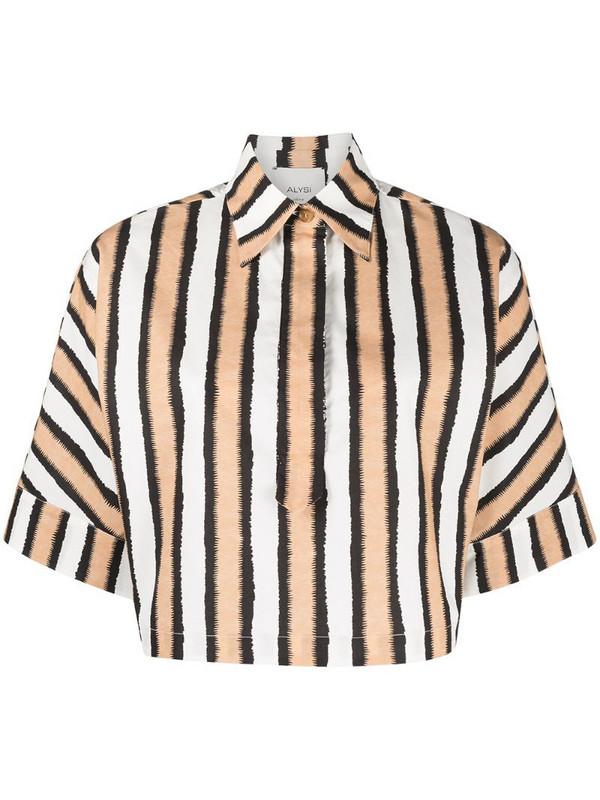 Alysi cropped striped print shirt in neutrals
