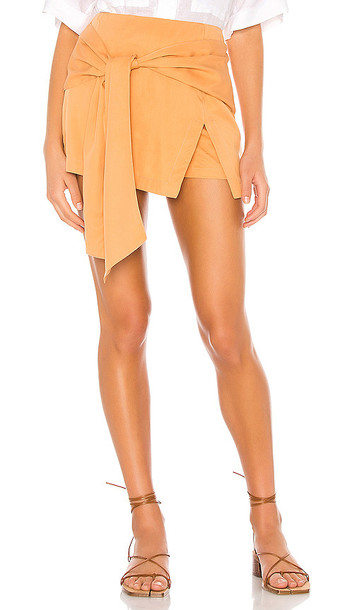 L'Academie The Tilda Skort in Orange in tan / copper