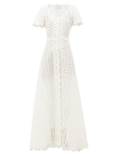 Luisa Beccaria - Cotton-blend Sangallo-lace Maxi Dress - Womens - White