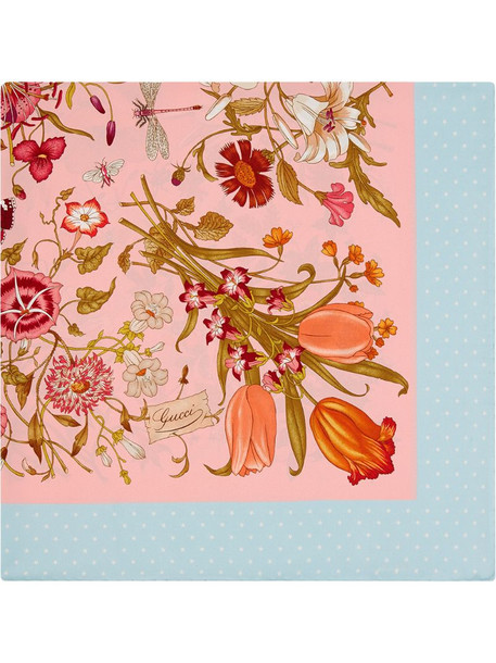 Gucci Silk scarf with Flora print in pink