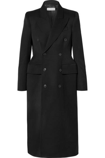 Balenciaga - Hourglass Double-breasted Wool-blend Gabardine Coat - Black