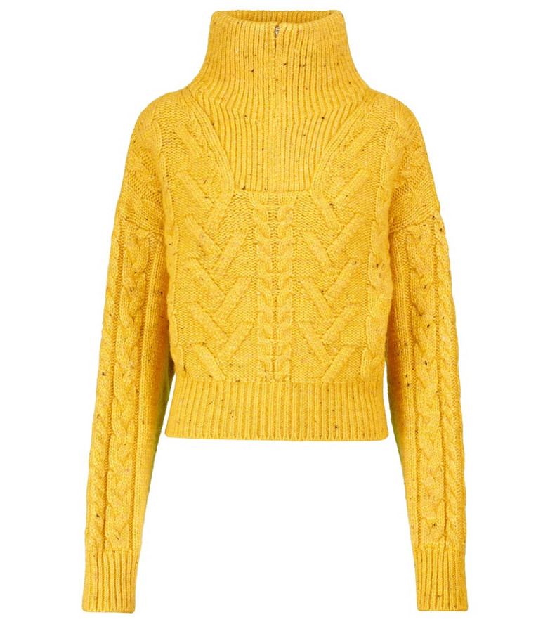 GANNI Cable-knit sweater in yellow