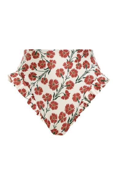 Agua by Agua Bendita Jengibre Ruffled Bermelo-Print Bikini Bottom in red