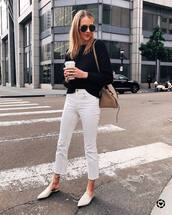 jeans,white jeans,cropped jeans,high waisted jeans,mules,shoulder bag,black sweater