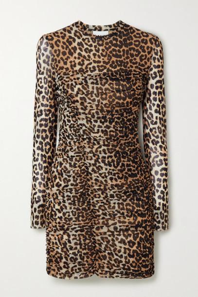 GANNI - Ruched Leopard-print Stretch-mesh Mini Dress - Leopard print