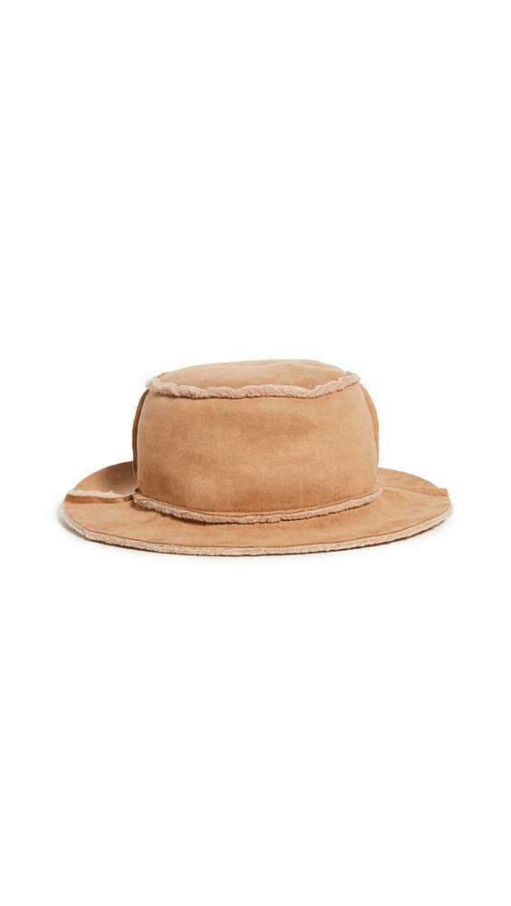 Hat Attack Faux Shearling Reversible Bucket Hat in tan
