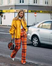 bag,shoulder bag,mulberry,high waisted pants,plaid,white shoes,yellow jacket,puffed sleeves,white turtleneck top