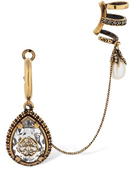 ALEXANDER MCQUEEN Signature Drop Mono Earring W/ Ear Cuff in gold / multi