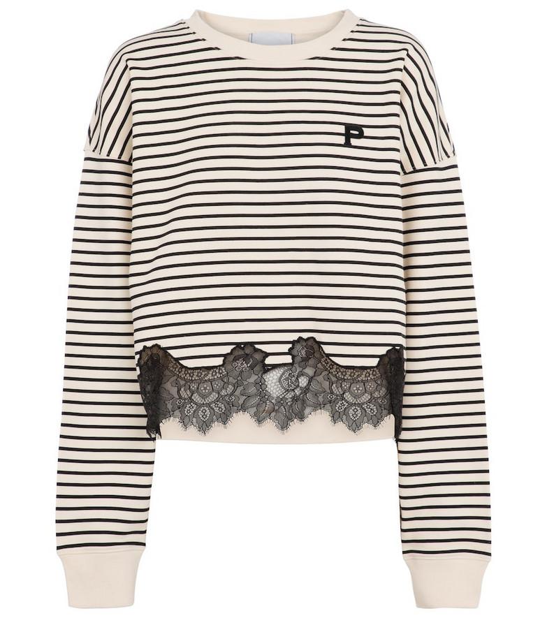 Philosophy Di Lorenzo Serafini Lace-trimmed striped cotton sweatshirt in beige