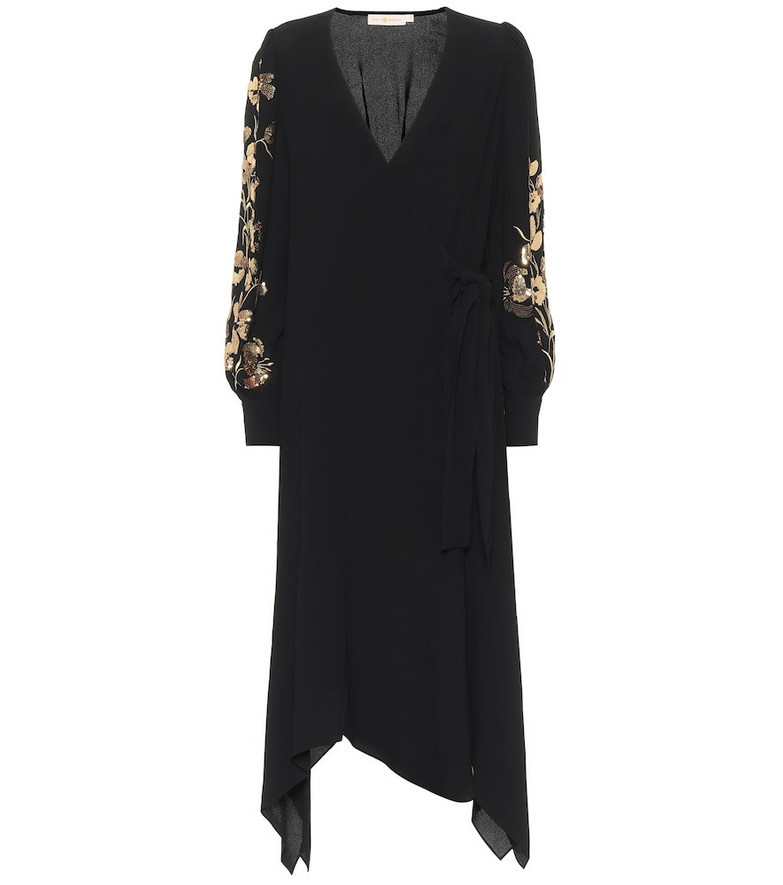 Tory Burch Sequined wrap dress in black