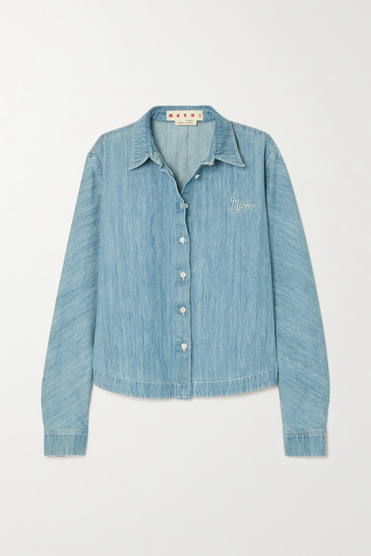 Marni - Embroidered Cotton And Linen-blend Chambray Shirt - Blue