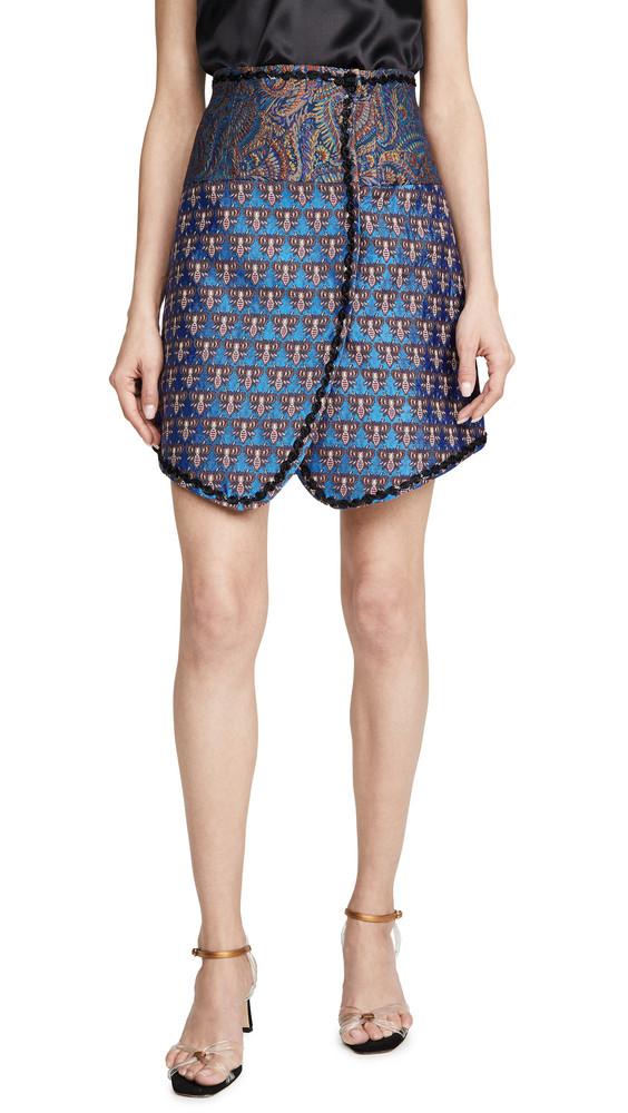 Costarellos Wrap Paneled Skirt in blue / multi