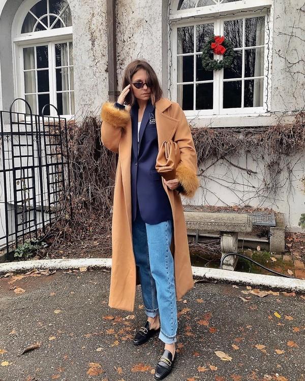 coat long coat loafers mom jeans blazer bag