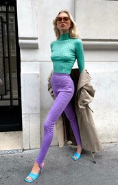 pants,lilac,leggings,sporty,elsa hosk,model off-duty,streetstyle,fall outfits,fashion week