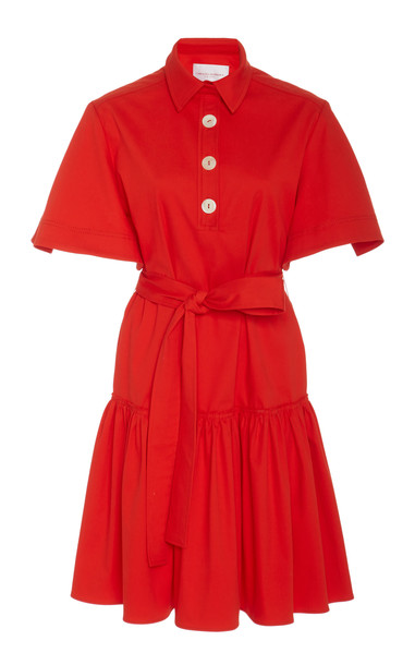 Carolina Herrera Button Tie Shirt Dress Size: 0 in red