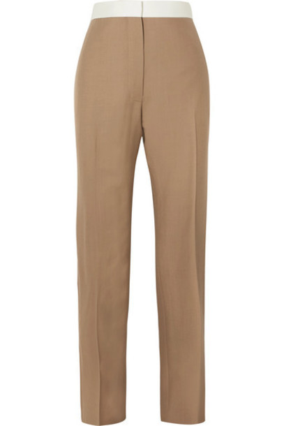 Loewe - Two-tone Wool Slim-leg Pants - Beige