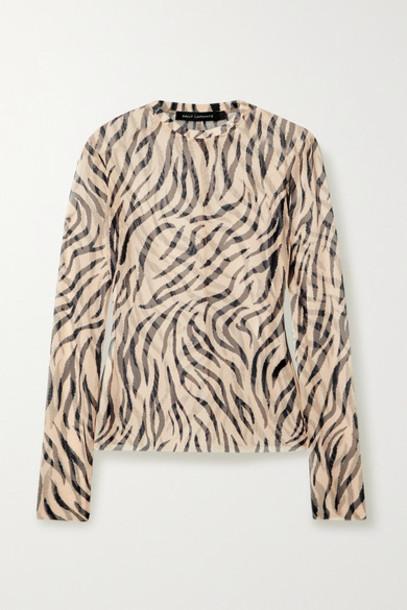 Sally LaPointe - Zebra-print Stretch-mesh Top - Beige