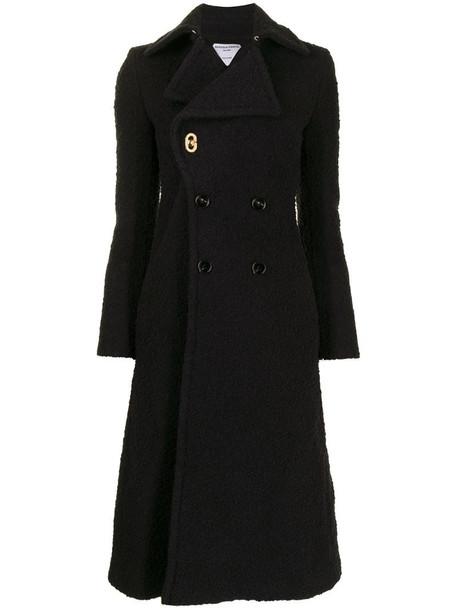Bottega Veneta double-breasted knitted coat in black